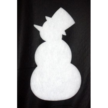 Silhouette of snowman in cotton wool