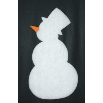 Silhouette of snowman with orange nose in cotton wool