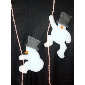 Snowman in cotton wool on luminous cord
