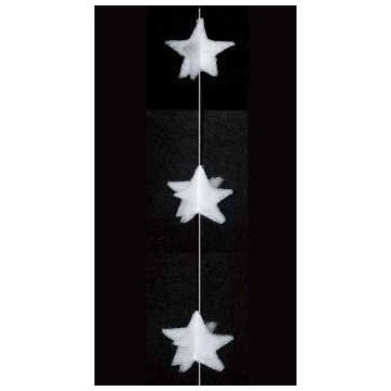Garland of stars in 3D in cotton wool