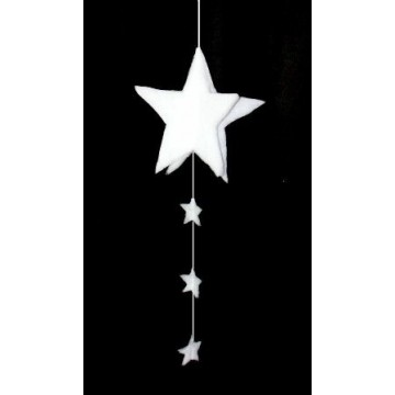 Star in 3D in cotton wool with garland of stars