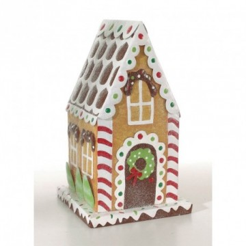 Gingerbread house, metal, 39x22x21 cm (H/W/D). Slightly covered with ice glimmer. Beige/multi coloured