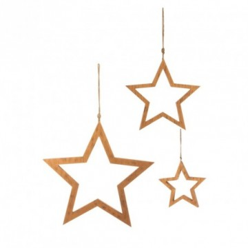 Star set, wood, 18, 26 and 40 cm Ø, 3 pieces/set. 2 cm deep, with cord hanger. Copper wiped