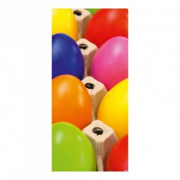 Multi coloured eggs in carton motif print