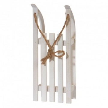 Sleigh, wood, 38x15x9 cm (L/W/H). With pull cord, collapsible skids. White