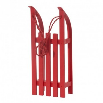 Sleigh, wood, 38x15x9 cm (L/W/H). With pull cord, collapsible skids. Red