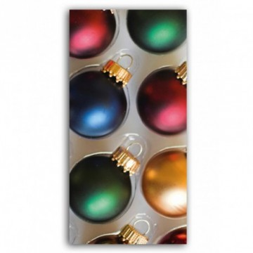 Xmas baubles in a box motif print